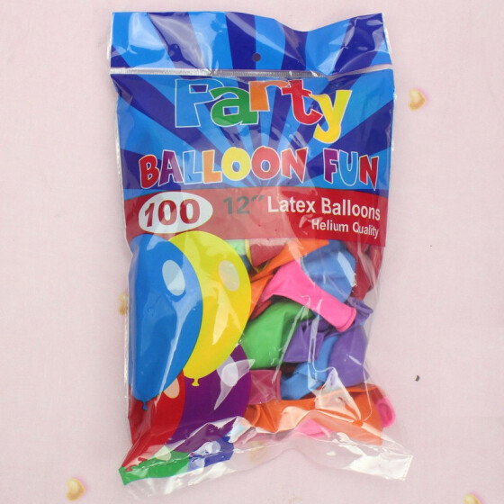 Party Balloons 12 Inches Rainbow Set 100 Pack Assorted Helium Or Air Use