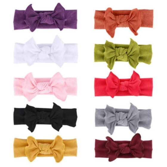 UK Baby Girls Kids Bunny Rabbit Bow Knot Turban Headband Hair Band Head wraps