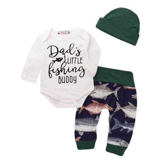 Casual Newborn Infant Toddler Kids Baby Boys Girl Long Sleeve Fish Clothes Cotton Romper Pants Hat Outfit Set Sunsuit