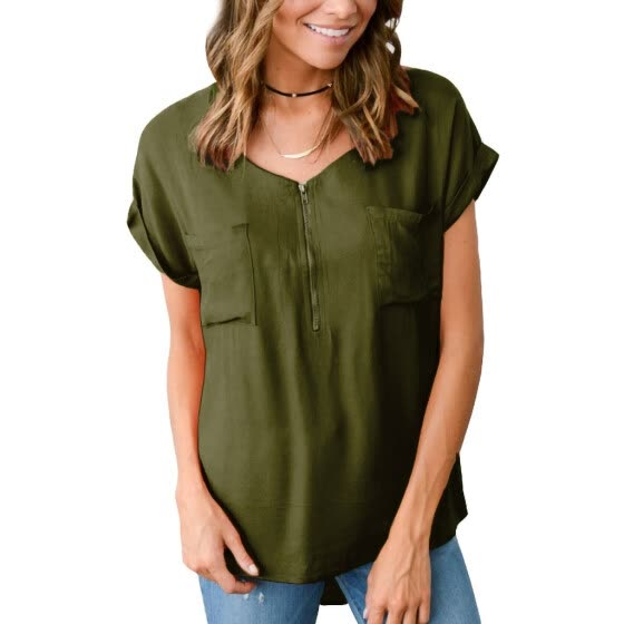 Starmoon Women's Casual Zipper Stitching Solid Short Sleeve V Neck T-Shirt Tops Blouse