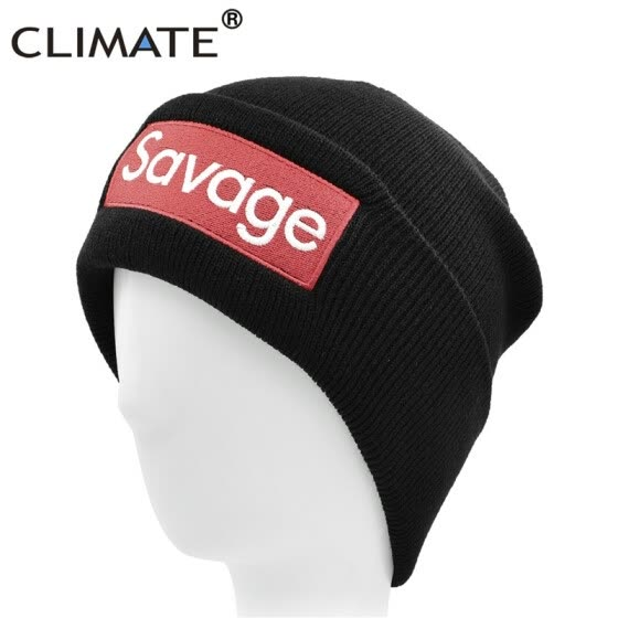 e4a447bff9c CLIMATE Fresh Hat Beanie Men Logo Hat Winter Beanie Cap Men Women Warm Knit  Beanie Black