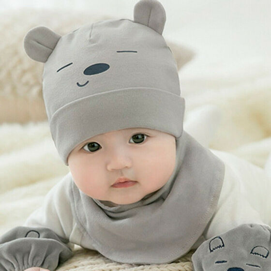 New Toddler Baby Girls Boys Soft Warm Knitted Beanie Cap+Scarf Warm Set