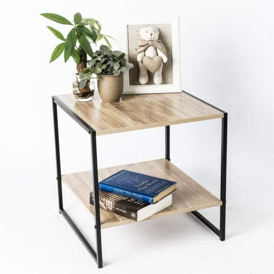 Shop End Coffee Table Small Square Occasional Vintage Side Table Storage Shelf Mid Century Industrial Wood Look Metal Frame Online From Best Bedroom Furniture On Jd Com Global Site Joybuy Com