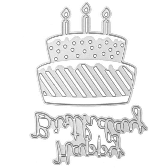 happy Birthday Cake Candle Metal Cutting Dies Stencils Scrapbooking Paper Cards