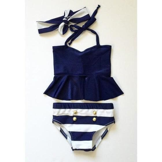 Kids Baby Girls Bikini Suit Navy Swimsuit Swimwear Bathing Swimming Clothes