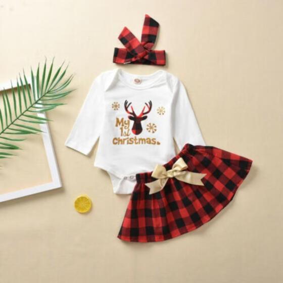 UK Christmas Newborn Kid Baby Girl Romper Dress Tutu Xmas Skirts Outfits Clothes
