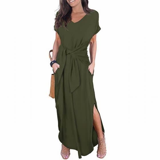Shop Split Toked Long Skirt Solid Color V Collar Short