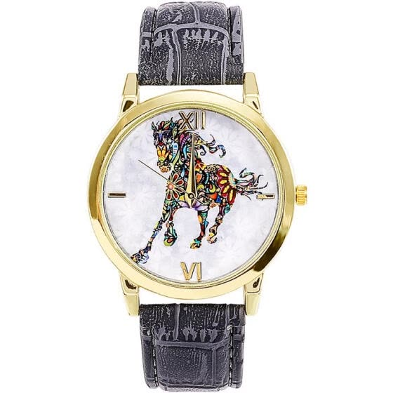 Creative Watch Unique Horse Dial Leather Band Stainless Steel Quartz Wristwatch Casual Women Men's Unisex Watches Montre Homme