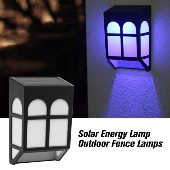 Solar Energy Lamp Outdoor Fence Lamps Garden Waterproof Landscape Courtyard Lights Street Stair Wall Colorful Light With Three-way