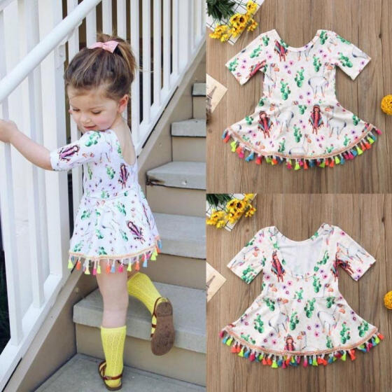 US Toddler Infant Baby Girls Summer Floral Flamingo Dress Princess Party Dresses