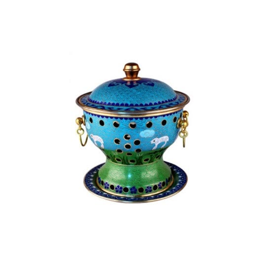 WANG KE MAN cloisonne copper hot pot thickened alcohol stove 5205