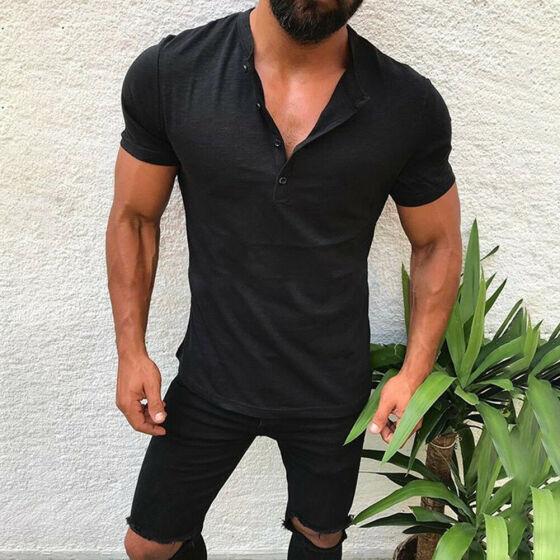 Men/'s Casual Slim Fit O Neck Short Sleeve Hooded Hoodie Muscle Tee T-shirt Tops