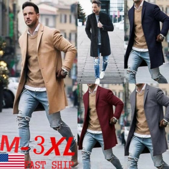 Fashion Mens Wool Coat Winter Trench Coat Outwear Overcoat Long Sleeve Jacket FA