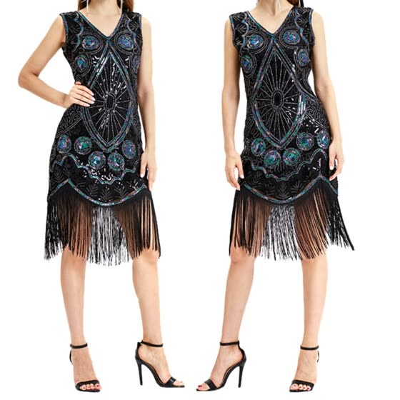〖Follure〗Women Vintage 1920s Bead Fringe Sequin Lace Party Flapper Cocktail Prom Dress