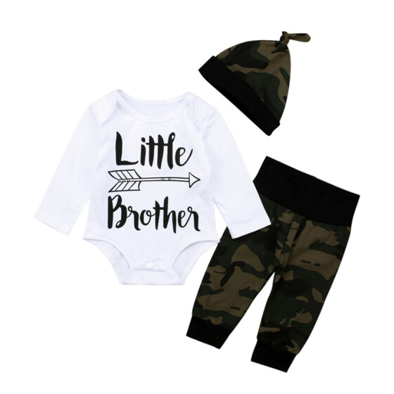 3PC Infant Baby Girl Boy Camouflage Long Sleeve Romper Jumpsuit Hairband Hat Set