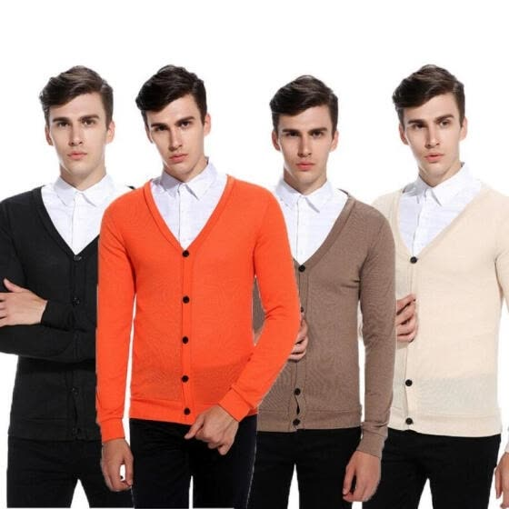 Men Winter Soft Knit Slim V Neck Jumpers Sweaters Long Sleeve Cardigan