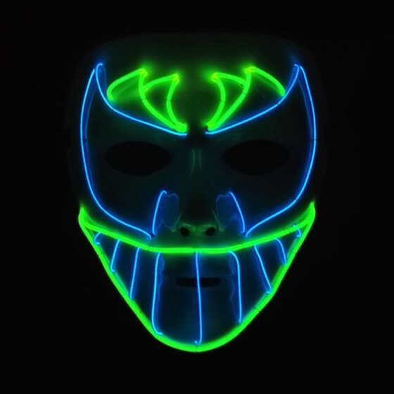 Bat Face Horror Vendetta Makeup Show Mask Glowing Scary Head EL Wire Full Face Masks for Halloween Party Cosplay Costume
