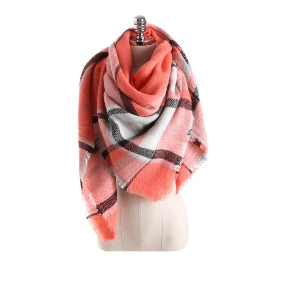 Salybaby Lattice Stitching Multicolor Color Imitation Cashmere Scarf