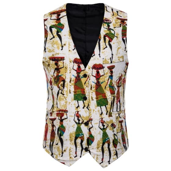 (Toponeto) Mens Casual Vintage Ethnic Style Sleeveless Business Vest Top Waistcoat
