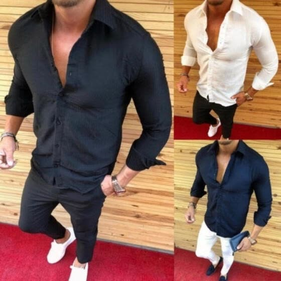 Men's Cotton Button Down Shirts Slim Fit Long Sleeve Casual Dress T-shirts Tops