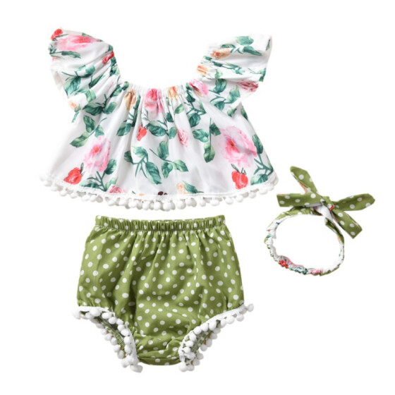 Toddler Infant Baby Girl Clothes Off Shoulder Floral Tops Shorts Outfit 3Pcs Set