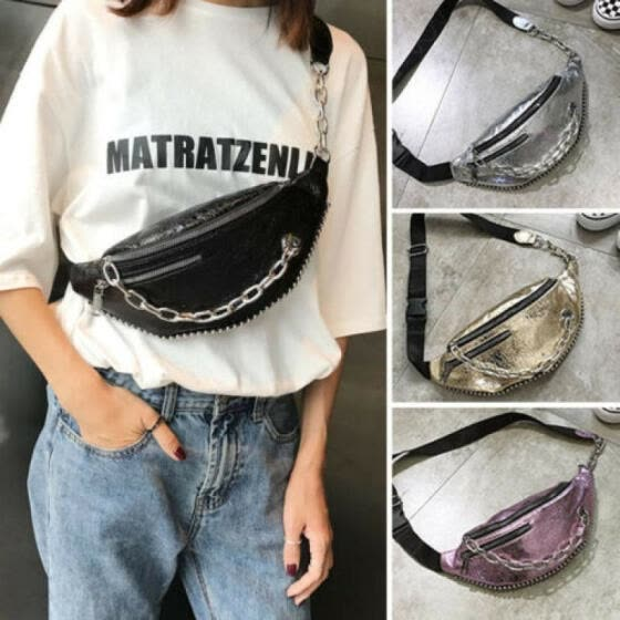 Fashion Waist Fanny Pack Women PU Leather Belt Zipper Waist Bag Chest Tote Purse
