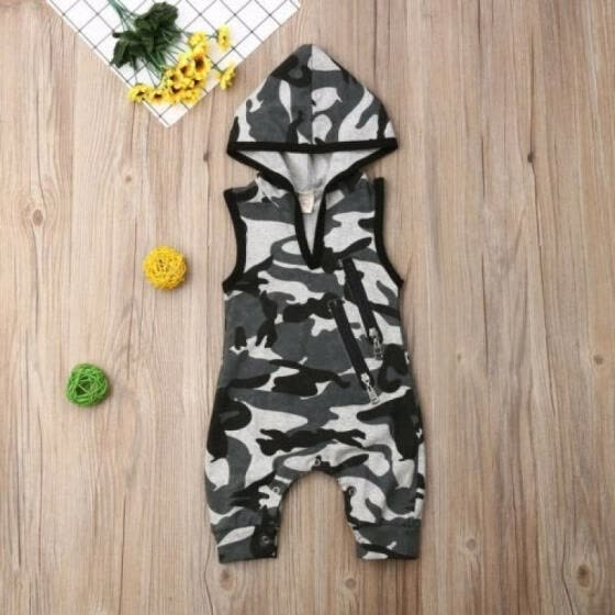 Summer Newborn Baby Boy Sleeveless Clothes Camo Hooded Romper Jumpsuit Outfit  0-24M