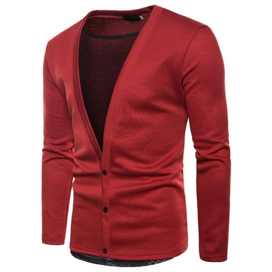 Fashion Mens V Neck Cardigan Knitted Plain Button Designer Jumper Sweater Top