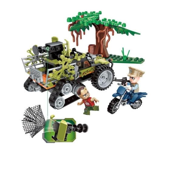 227PCS Educational Building Blocks Capturing Monkey Crawler Car City Police Series Model Toys For Children - Green