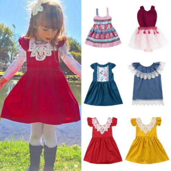 Kids Baby Girls Toddler Princess Pageant Party Tutu Lace Bow Flower Floral Dress