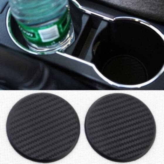 2Pcs Black Car Auto Water Cup Slot Non-Slip Carbon Fiber Mat Accessories
