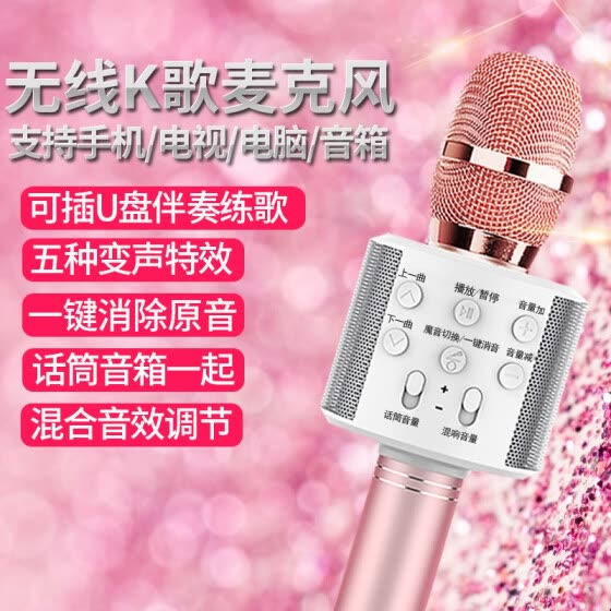 EARISE A6 mobile phone microphone mobile phone K song national K song wireless Bluetooth microphone handheld KTV anchor sound card capacitor wheat speaker audio integrated K song Bao rose gold
