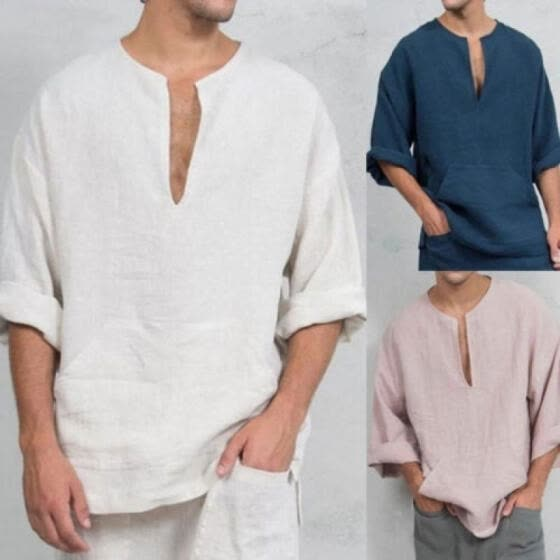 Long Sleeve Linen Shirt for Men Loose Summer Casual V-Neck Shirts Tops