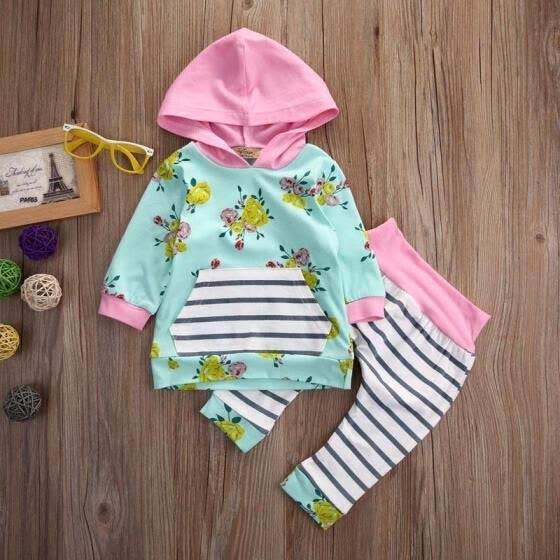 Kids Baby Girls Warm Infant Romper Jumpsuit Bodysuit Hooded Clothes Outfit 0-3Y