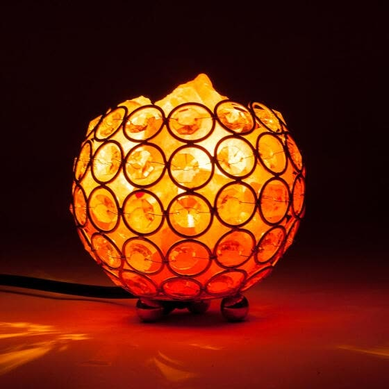 Natural Himalayan Crystal Salt Lamp with Metal Base,Dimmable Controller UL-Listed Cord - Bowl