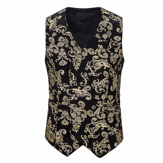 (Toponeto) Men's Single-breasted Sleeveless Wedding Business Formal Tops Printing Vest