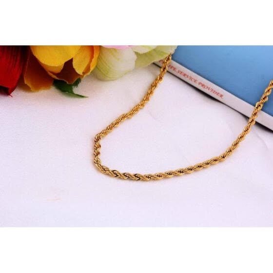 SOLID 18K 23.6 INCH YELLOW GOLD EP ROPE SOFT NECKLACE CHAIN ,FREE SHIP