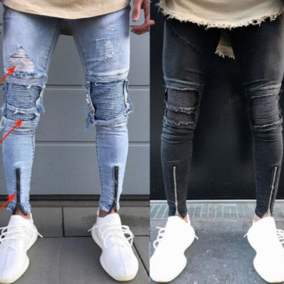 Fashion Men's Ripped Skinny Jeans Destroyed Frayed Slim Fit Denim Pant Zipper