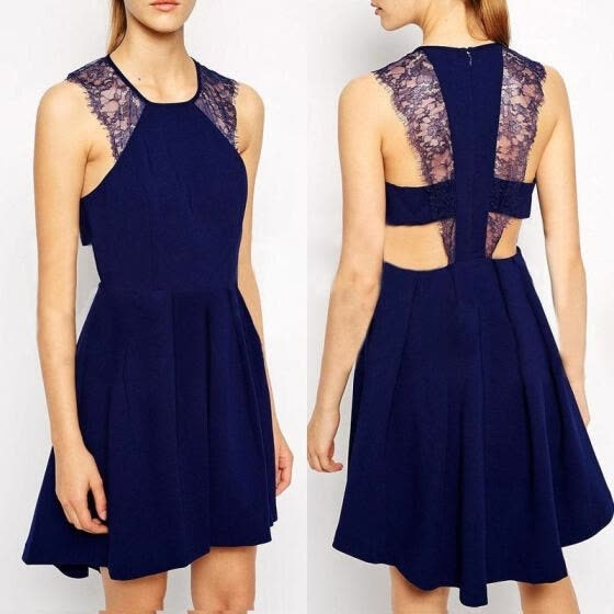 Fashion Sexy Women´s Summer Lace Sleeveless Evening Party Beach Dress Short Mini Dress Navy Blue Black
