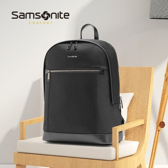 Samsonite / Samsonite Backpack Men's Business Computer Bag Simple Fashion Cow Leather Backpack TO6 * 09001 Black