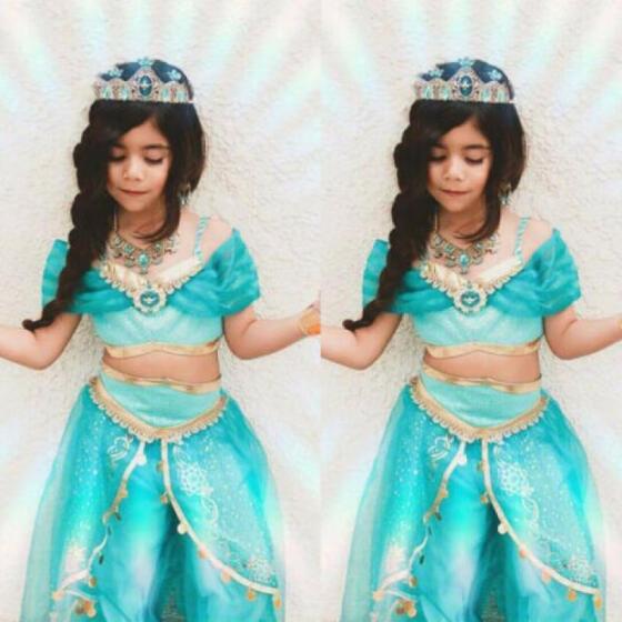 US Aladdin Jasmine Princess Cosplay Baby Kid Girl Fancy Dress Party Costume Sets