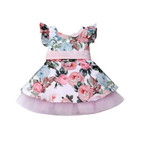Toddler Kids Baby Girls Summer Flower Princess Party Pageant Dress Sundress Clothes