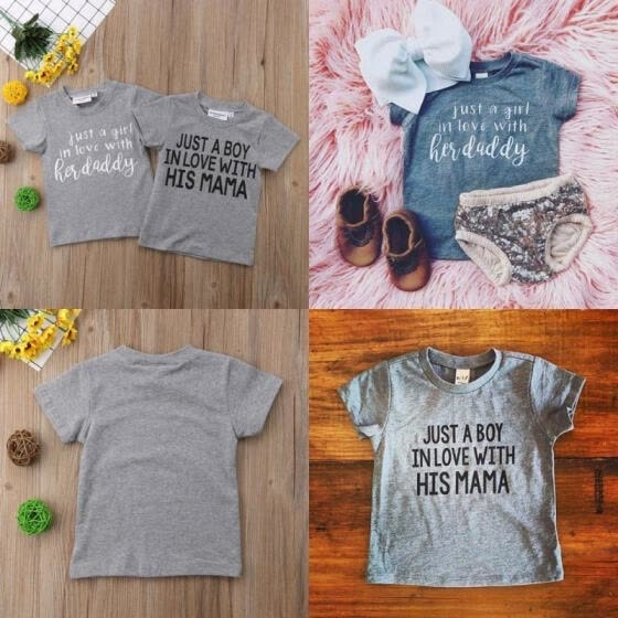 Hot Family Matching Newborn Kids Baby Girl Boy Tops T-shirts Blouse Tee Gray Clothes