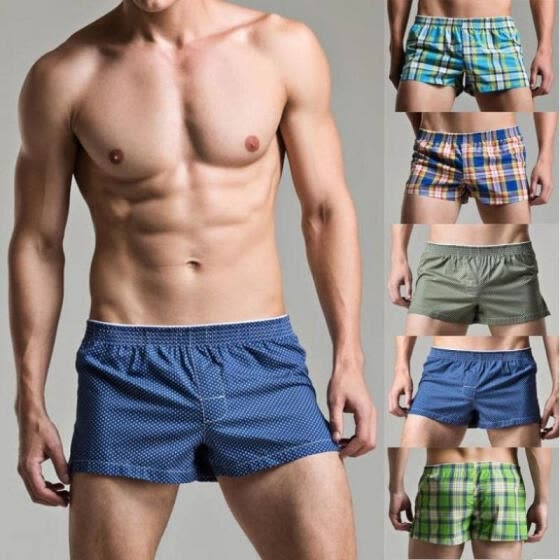 Men's Boxer Shorts Underwear Check Plain Stripe Cotton Boxers Briefs M L XL XXL