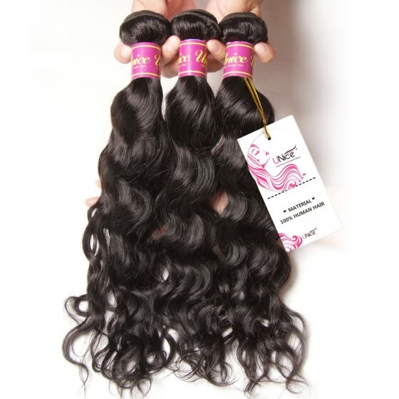 UNice 8A Brazilian Virgin Human Hair Extensions Natural Wave 3 Bundles