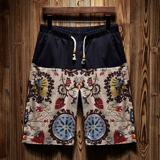 Tailored Men's New Summer Casual Ethnic Style Printed Loose Cotton Hemp Beach Shorts Pant