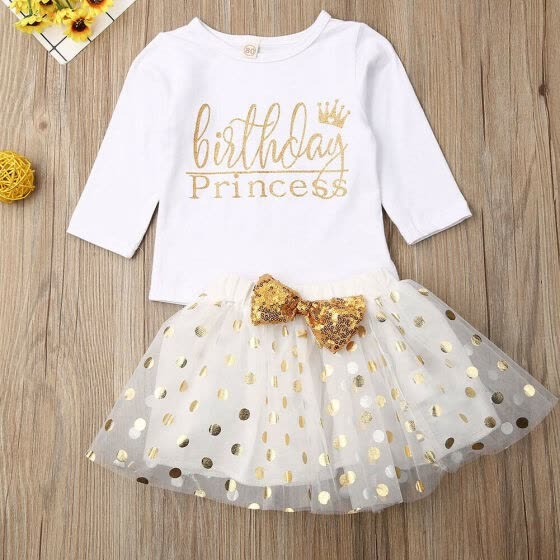 Little Girl Outfit Toddler Baby Striped Shirts+Tutu Skirt Party Princess Dress Clothes Set