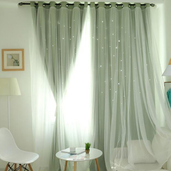 1PC Double Layer Window Curtain Little Stars Hollow Drape Multicolor Curtain