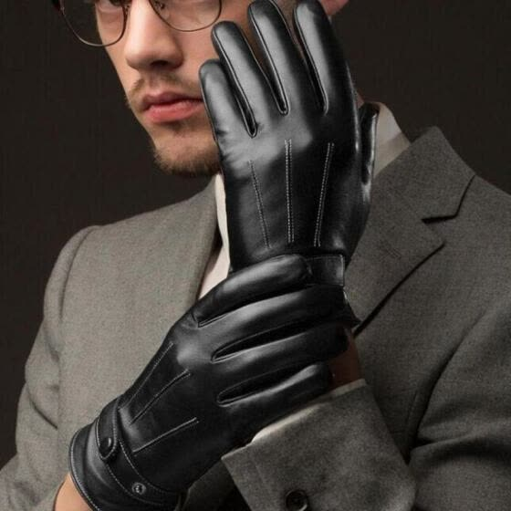 Hot Mens Fitted Real Leather Touch-Screen Gloves with Racing Driving Gloves