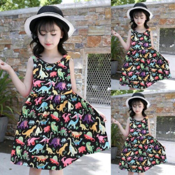 Kids Baby Girls Summer Casual Flower Dress Party Pageant Floral Dresses Sundress